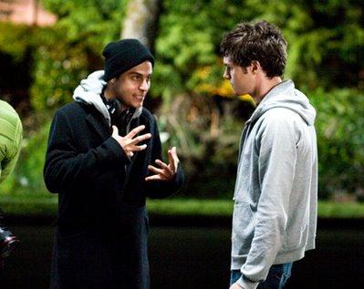 Director Jon Kasdan (left) with Adam Brody on the set of In the Land of Women