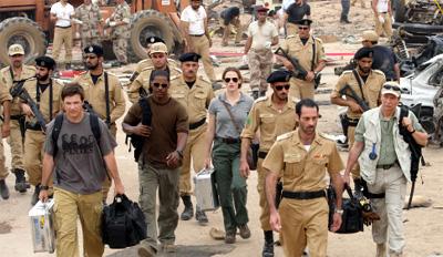 From left to right, Jason Bateman, Jamie Foxx, Jennifer Garner, Ashraf Barhom and Chris Cooper in The Kingdom
