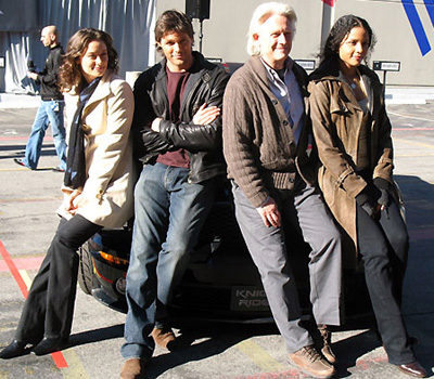 From left to right: Deanna Russo, Justin Bruening, Bruce Davison and Sydney Tamiia Poitier