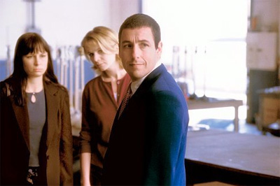 Mary Lynn Rajskub (left), Emily Watson and Adam Sandler in Punch-Drunk Love