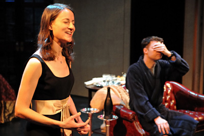 Ana Sferruzza closes her eyes and recites poetry from John Keats while Dan Rodden listens in the Chicago production of Marrying Terry
