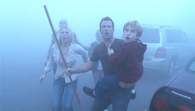 Laurie Holden (left), Thomas Jane (middle) and Nathan Gamble in The Mist